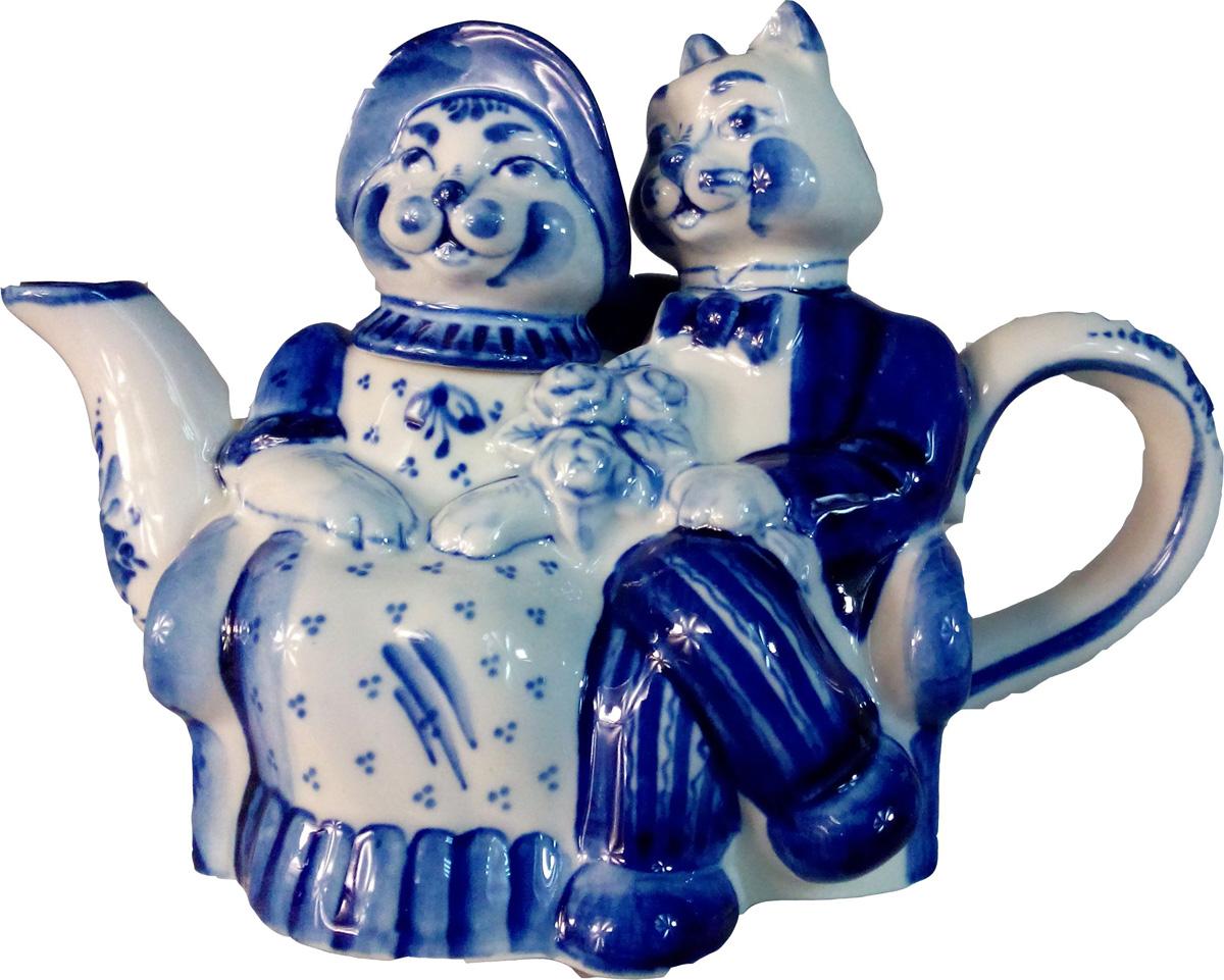 """Авторская работа гжельского мастера чайник """"Кошки"""" станет центром вашего чаепития. Гжель - это красивый и функциональный подарок в русском стиле для мужчины или женщины на любой праздник.Тип росписи: ручная подглазурная кобальтовая роспись. Рисунок на изделии может отличаться от изображения на фотографии."""
