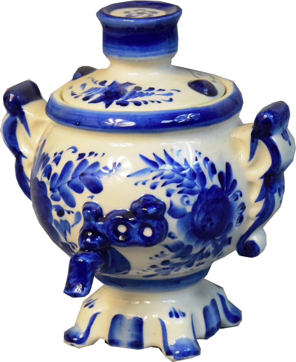 """Шкатулка для хранения чая """"Самовар"""" выполнена из традиционного белейшего и качественного фарфора и украшена авторской росписью. Станет прекрасным подарком и украшением вашего стола. Ручная подглазурная кобальтовая роспись. Рисунок на изделии может отличаться от изображения на фотографии."""
