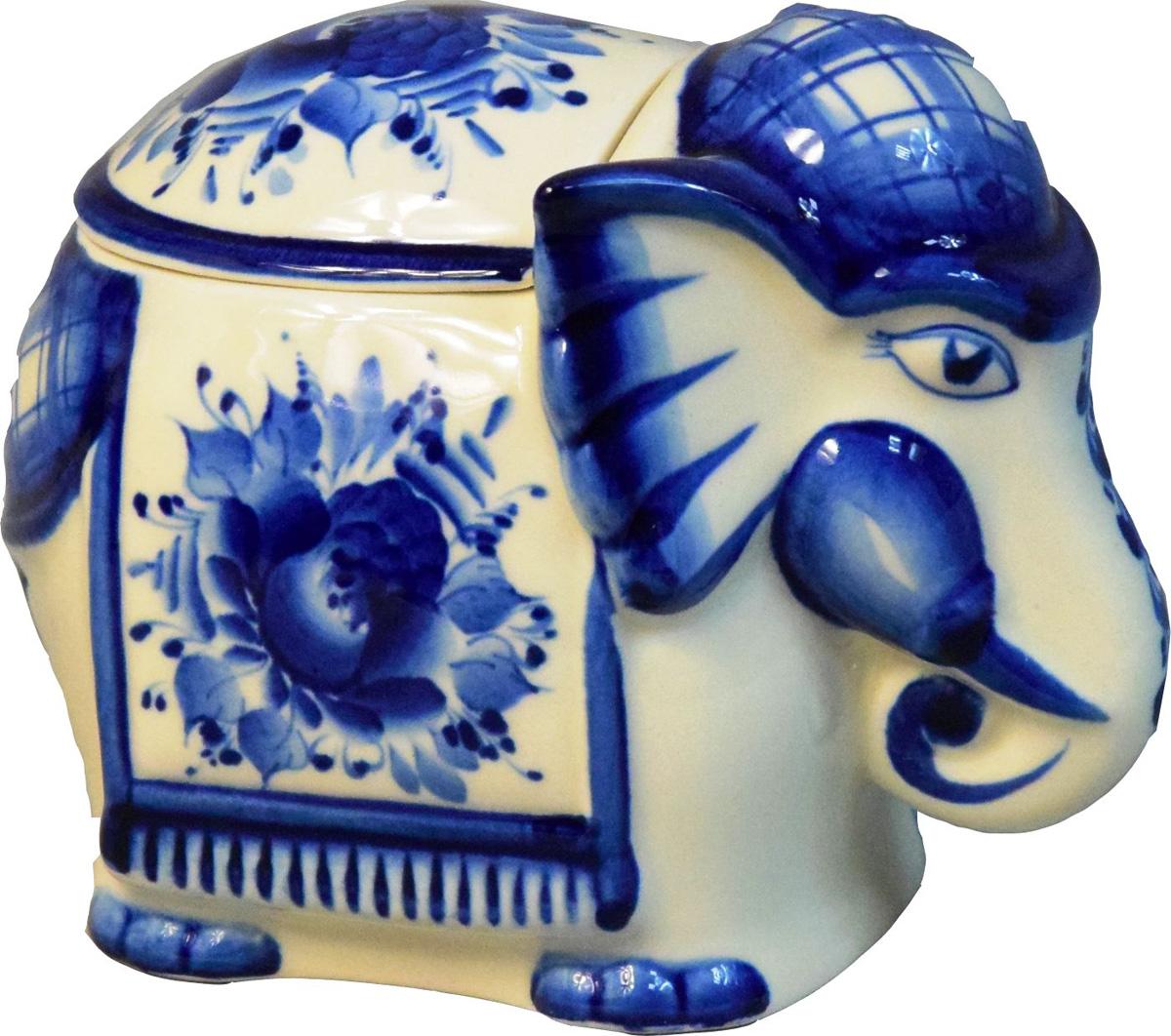 """Шкатулка для хранения чая """"Слон"""" выполнена из традиционного белейшего и качественного фарфора и украшена авторской росписью. Станет прекрасным подарком и украшением вашего стола. Ручная подглазурная кобальтовая роспись. Рисунок на изделии может отличаться от изображения на фотографии."""