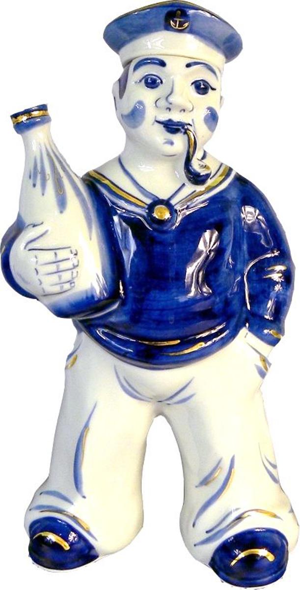 Штоф АМК Матрос, кобальтовая роспись Гжель в золоте, 500 мл штоф русалка гжель