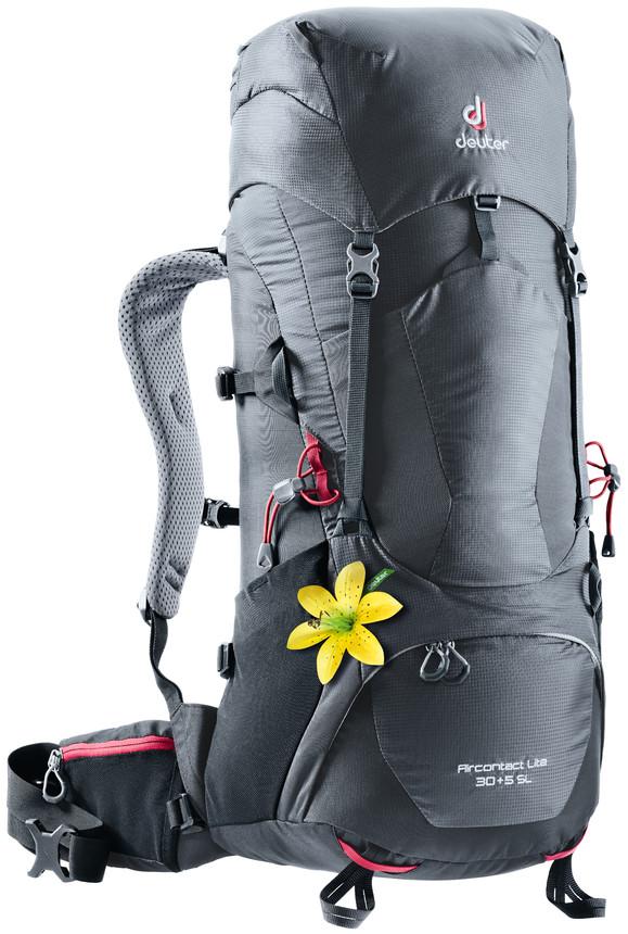 """Рюкзак туристический Deuter """"Aircontact Lite"""", цвет: темно-серый, черный, 30 л"""