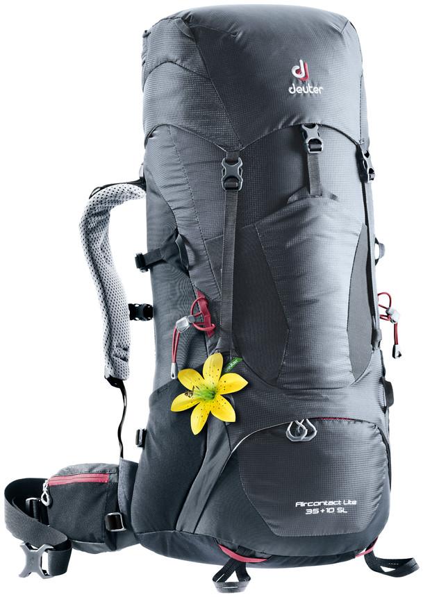 """Рюкзак туристический Deuter """"Aircontact Lite"""", цвет: темно-серый, черный, 35 л"""