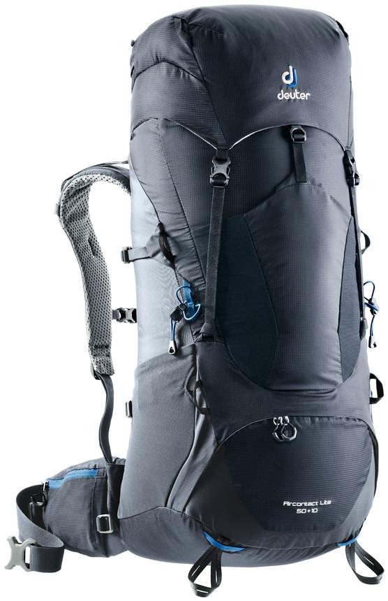"""Рюкзак туристический Deuter """"Aircontact Lite"""", цвет: темно-серый, черный, 50 л"""