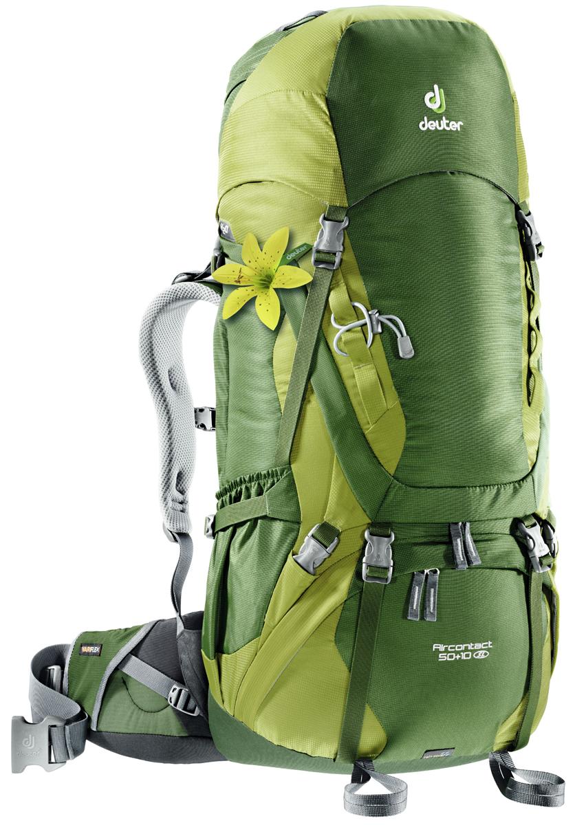 Рюкзак туристический Deuter Aircontact, цвет: салатовый, 50 л цена