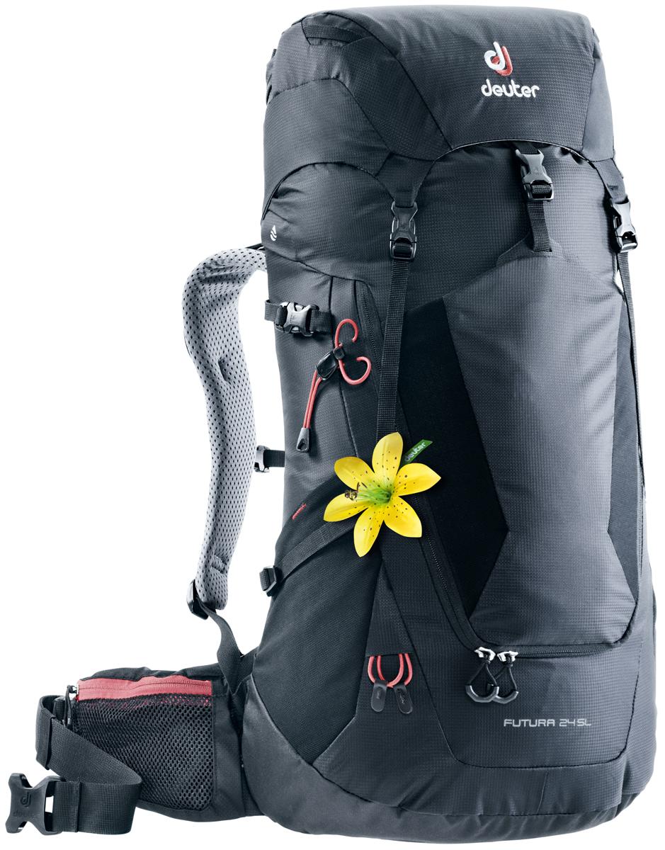 Рюкзак туристический Deuter Futura, цвет: черный, 24 л. 3400218_7000 велорюкзак deuter 2015 aircomfort futura 24 sl papaya lava 34224 9503
