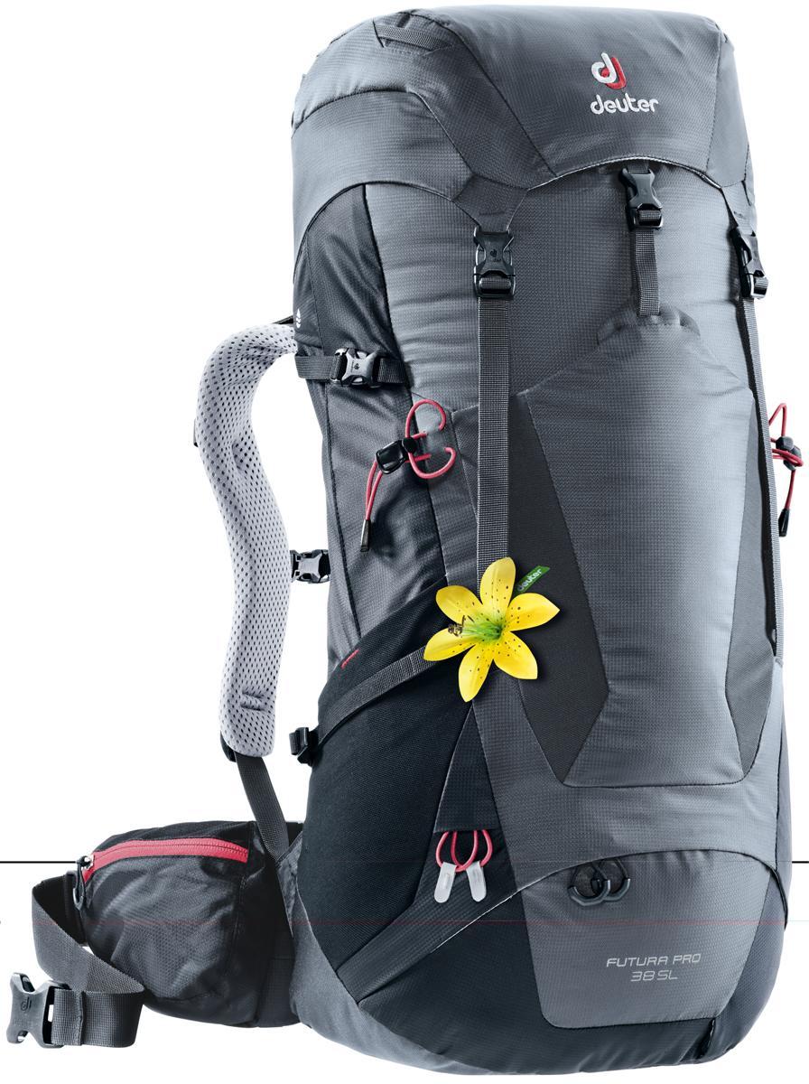"""Рюкзак туристический Deuter """"Futura PRO"""", цвет: темно-серый, черный, 38 л"""