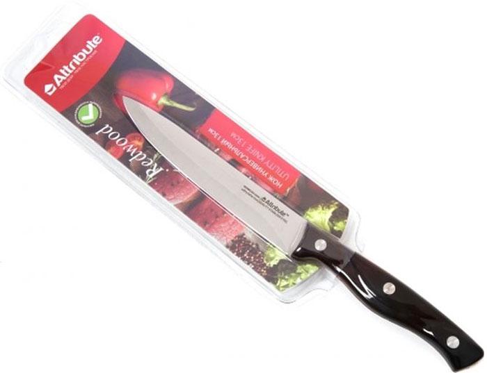 """Универсальный нож Attribute Knife """"Redwood""""предназначен для нарезки различных продуктов. Лезвие выполнено из высококачественной нержавеющей стали.  Эргономичная рукоятка, выполненная из дерева, не скользит в руках и делает нарезку удобной и безопасной. Благодаря уникальной формуле стали и качеству ее обработки, лезвие имеет высокий показатель твердости, что позволяет ему долго сохранять острую заточку. Нож Attribute Knife """"Redwood"""" идеально шинкует, нарезает и измельчает продукты. Он займет достойное место среди аксессуаров на вашей кухне."""