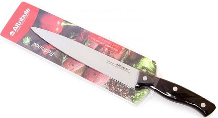 """Универсальный нож Attribute Knife """"Redwood"""" предназначен для нарезки различных продуктов. Лезвие выполнено из высококачественной нержавеющей стали. Эргономичная рукоятка, выполненная из дерева, не скользит в руках и делает нарезку удобной и безопасной. Благодаря уникальной формуле стали и качеству ее обработки, лезвие имеет высокий показатель твердости, что позволяет ему долго сохранять острую заточку.Нож Attribute Knife """"Redwood"""" идеально шинкует, нарезает и измельчает продукты. Он займет достойное место среди аксессуаров на вашей кухне."""