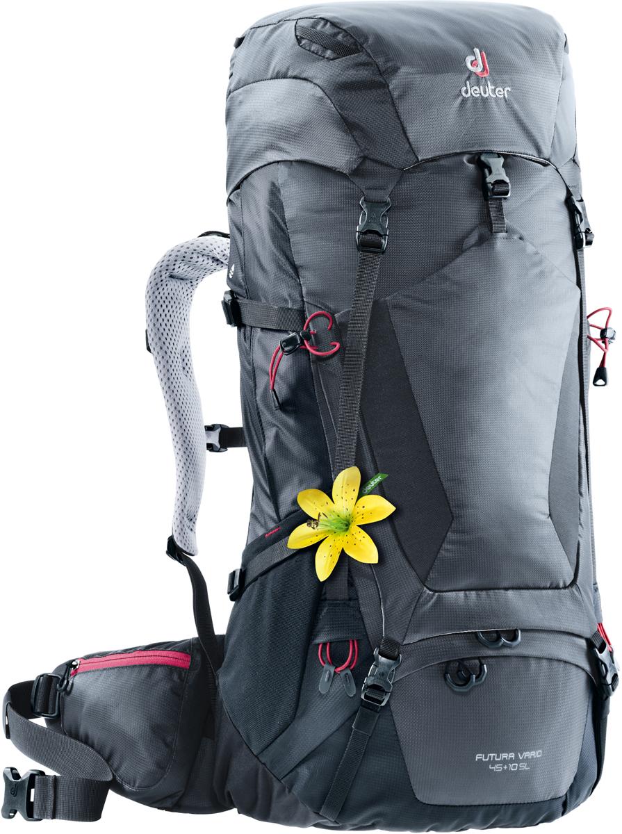 """Рюкзак туристический Deuter """"Futura Vario"""", цвет: темно-серый, черный, 45 л"""