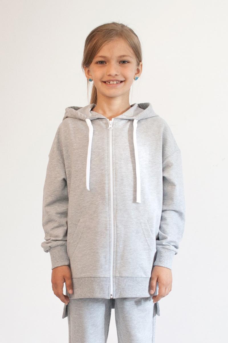 Толстовка для девочки Boom!, цвет: серый. 80388_BLG. Размер 134/140