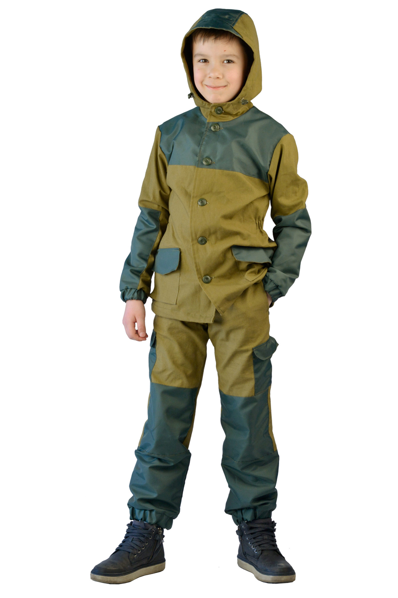Костюм камуфляжный детский Ursus Горка-3, цвет: хаки. КОСДЕТ100. Размер 164/170КОСДЕТ100Оптимальный вариант для юных путешественников и любителей приключений. Костюм подходит как мальчикам, так и девочкам. Сохранив все преимущества классического костюма Горка-3, в местах подверженных наибольшему изнашиванию, загрязнению и воздействию влаги добавлено усиление из ткани Oxford. 240D, рип-стоп. Теплая подкладка из флиса обеспечит комфортное тепло в любых погодных условиях. Куртка прямого силуэта, с центральной суппатной застежкой на пуговицы, двойным капюшоном с козырьком, регулирующимся по объему. Рукава с усилением в области локтей, карманами и кулисой. Куртка регулируется кулисой с фиксаторами по талии и низу. Брюки с застежкой на пуговицы, усилением в области коленей и задних половинок. На передних половинках обработаны два кармана в боковых швах и два накладных кармана на задних половинках, застегивающиеся на пуговицы. Брюки с регулировкой объема по поясу резинкой. Низ брюк собран на резинку. Материал: Палаточное полотно (100% хлопок), пл. 235 г/м2, ВОМатериал накладки:оксфорд рип-стоп 100% полиэстр 240D PUМатериал подкладка:флис 180г/м2.