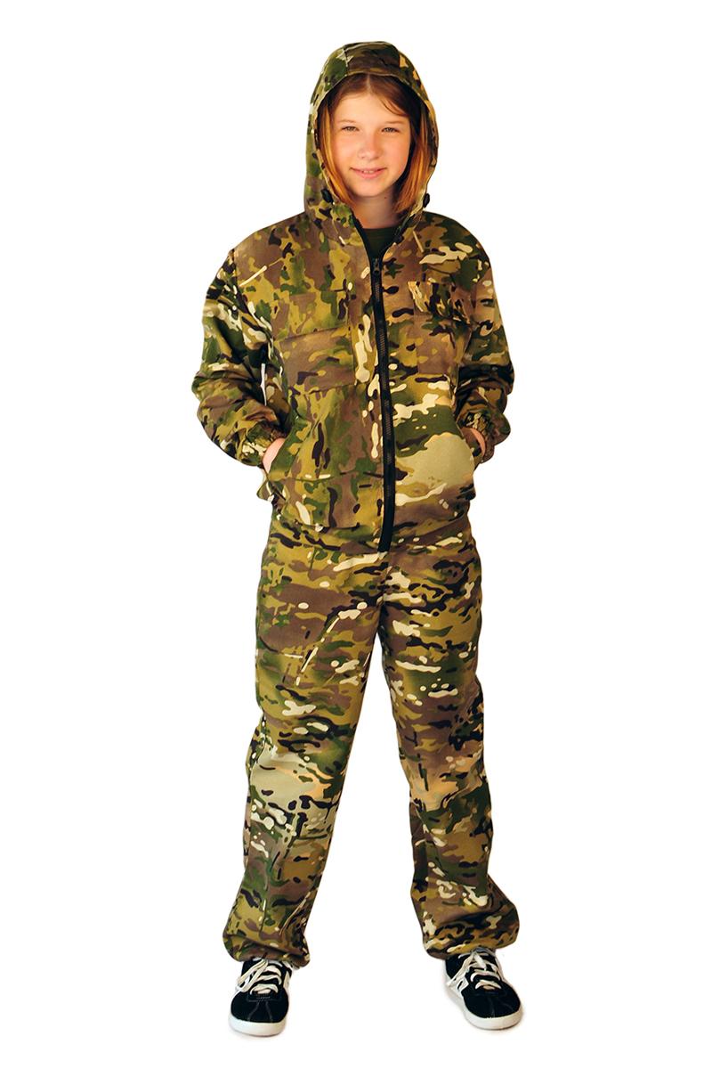 Костюм камуфляжный детский Ursus Мини-турист, цвет: хаки. КОСДЕТ132. Размер 122/128КОСДЕТ132Материал верха: ткань Грета (68% полиэфир, 32% хлопок), плотность 210 г/м2, ВОКостюм предназначен для отдыха на природе. Фасон подходит как мальчикам, так и девочкам. Куртка укороченная, с центральной бортовой застежкой на молнию. На полочках обработаны два нижних прорезных кармана с кисточкой и два верхних накладных кармана- книжки с клапанами, застегивающимися на тесьму контакт. Спинка цельнокроеная. Рукава втачные из двух частей, с манжетами, притаченными по низу, собранные на две резинки. Куртка на притачном поясе, собранном на эластичную ленту - резинку. Капюшон втачной, состоит из трех частей, к обтачке которого крепится противомоскитная сетка. Сетка отстегивается и убирается в карман. Брюки на притачном поясе, собранном на резинку. На передних половинках обработаны два боковых кармана. Низ брюк собран на резинку.