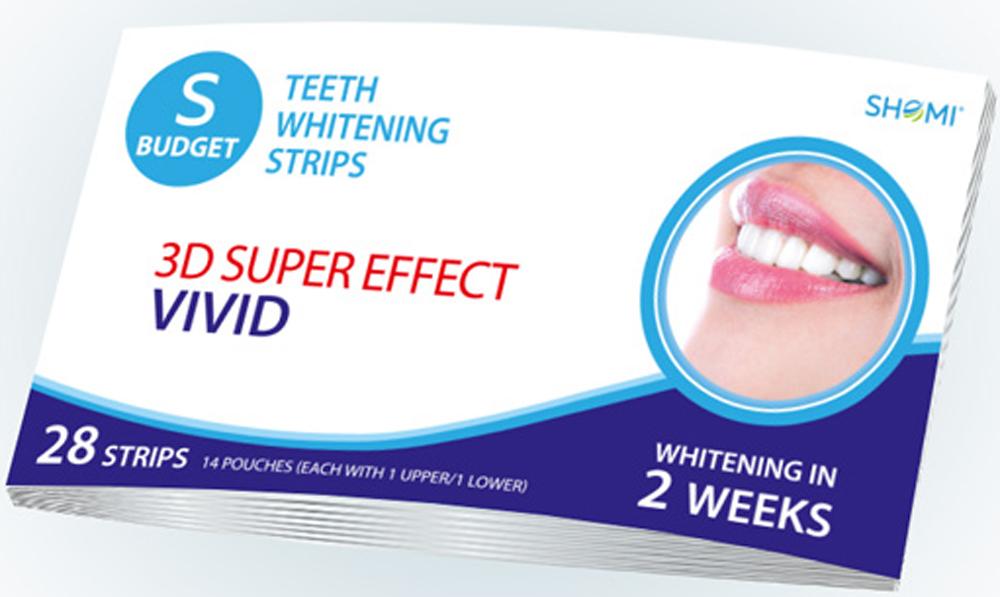 Shomi Sbudjet 3D Super Effect Vivid 2 Weeks Отбеливающие полоски для зубов