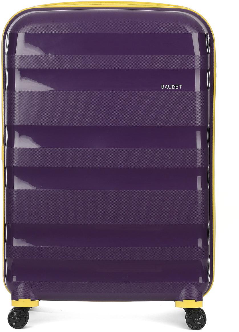 Чемодан Baudet, на колесах, цвет: фиолетовый, 124,4 л. BHL0708807-72BHL0708807-72 (Ф/Ж)Чемодан пластиковый на 4-х колесах BAUDET, арт. BHL0708807-72 (Ф/Ж), L. Чемодан выполнен из полипропилена - материала, обладающего высокой ударопрочностью и стойкостью к механическим повреждениям. Внутри содержатся два больших отдела для хранения одежды с перекрещивающимися ремнями. Имеется внутренний карман на молнии для документов. Система двойных колес, вращающихся на 360°, равномерно распределяет нагрузку и позволяет легко катить чемоданы по любой твердой поверхности. Колеса изготовлены из прорезиненного материала. Чемодан оснащен кодовым замком TSA, который исключает возможность взлома. Отверстие для ключа в кодовом замке предназначено для работников таможни (открытие багажа для досмотра без присутствия хозяина). Ключ находится только у таможни и в комплекте с чемоданом не идет. Телескопическая ручка выдвигается нажатием на кнопку и фиксируется в двух положениях. Сверху и сбоку предусмотрены ручки для поднятия чемодана. Гарантия на чемодан 24 месяца. Детали: вес 4,8 кг; объем 124,4 л. Высота корпуса чемодана: 72 см.