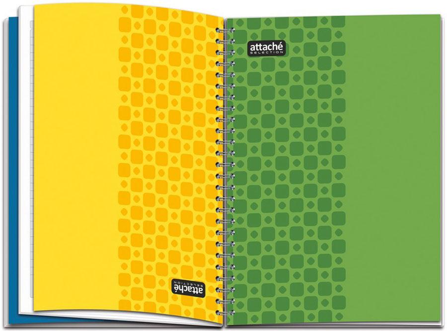 Бизнес-тетрадь Attache Selection Twice Two формата А4,120 листов, собложкой изкартона иярким дизайном.Обложка изготовлена изплотного 300 г/кв.м.целлюлозного высококачественного импортного картона сдвухсторонниммелованием. Втетради- 4 обложки, расположенные такимобразом, что тетрадь разделяется на2 блока. При этомтетрадь представляет собой двойной перевертыш,вкотором можно вести записи вчетырех направлениях. Обложкиивнутренний блок подлежат дальнейшей переработке. Внутреннийблок- изэкстра белой бумаги 80 г/кв.м. Блок- вкрупную клетку, что облегчает написание рукописноготекста иего читабельность наформате А4, сполямииместом для даты. Крепление накрупную спираль.