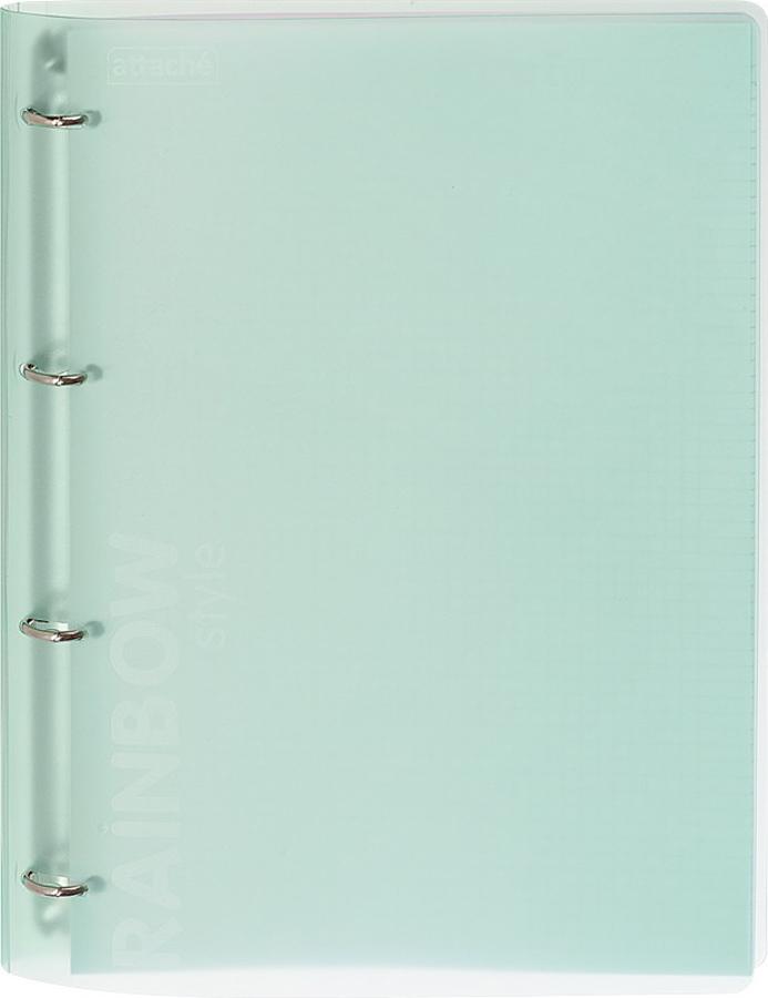Бизнес-тетрадь Attache Rainbow Style А4со сменными блоками. Модель cобложкой изжесткого износостойкого матового полупрозрачного пластика стактильно приятной текстурой, зеленого цвета. Обложка надежно фиксируется взакрытом виде при помощи специально разработанных вырубных фиксаторов. Блок состоит из120 листов белой офсетной бумаги высшего качества, разлинованных вклетку. Настраницах имеются поля иразметка для дополнительной информации. Комплектуется разделителем-табулятором, изготовленным изплотной бумаги. Бизнес-тетрадь оборудована кольцевым механизмом с4-мя кольцами для подшивки сменных блоков.
