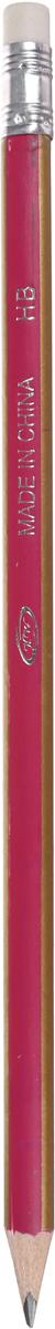 Карандаш чернографитный Полоски с ластиком твердость HB цвет корпуса фуксия