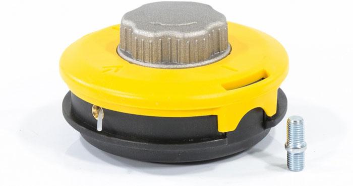 Катушку можно устанавливать на триммера оснащенные как присоединительным винтом, так и гайкой. Замена и установка адаптеров не требует применения специального инструмента. Прорези в крышке катушки облегчают установку шпули в корпус. Катушка изготовлена из ABS (ударопрочного) пластика. Прочная металлическая кнопка катушки обеспечивает долгий срок эксплуатации. Заправка лески производится без снятия крышки с катушки. Посадочный диаметр катушки: гайка М10 х 1,25, левая. В корпусе катушки расположена шпуля, на которую наматывается леска диаметром до 3,0 мм, длиной до 15 м.