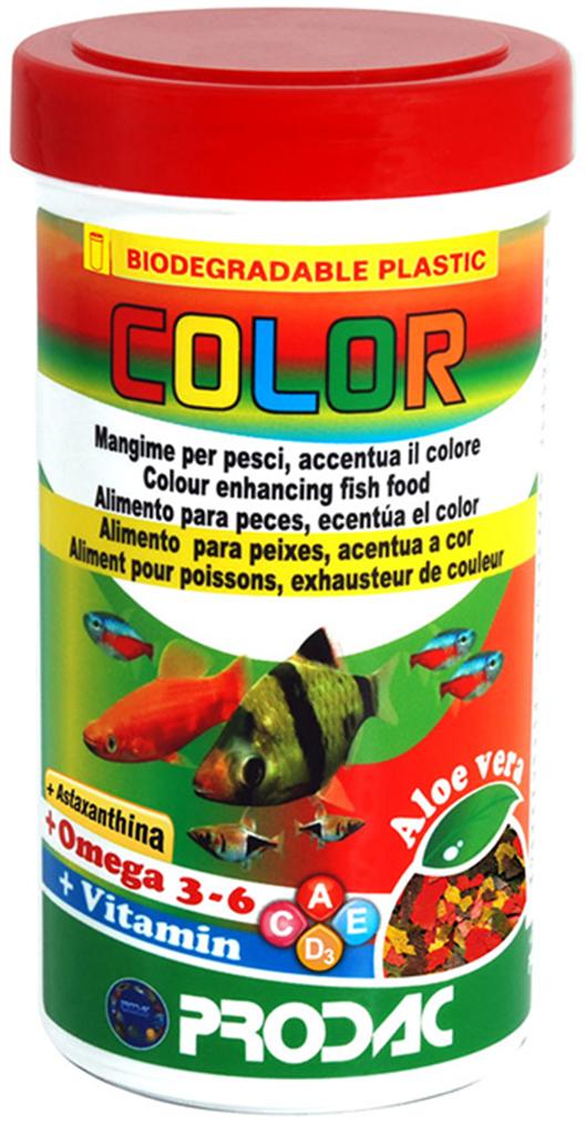 Корм сухой Prodac Color, для аквариумных пресноводных рыб, в виде хлопьев, 200 г корм сухой prodac tubifex для аквариумных пресноводных рыб 10 г