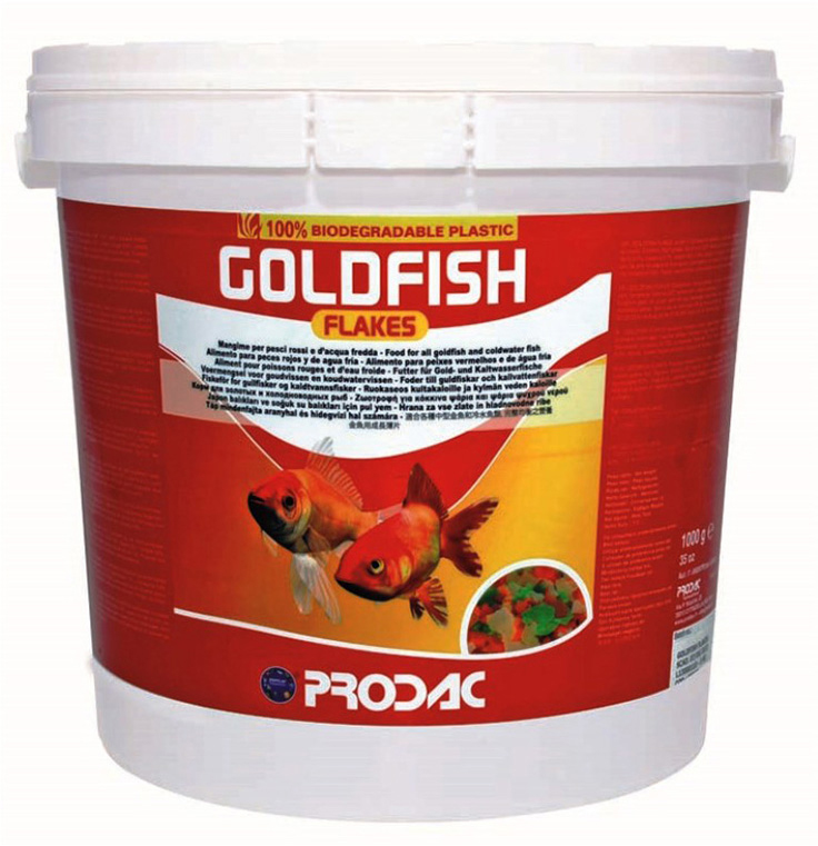 Корм сухой Prodac Goldfish Flakes, для аквариумных пресноводных рыб, в виде хлопьев, 1 кг корм сухой prodac tubifex для аквариумных пресноводных рыб 10 г