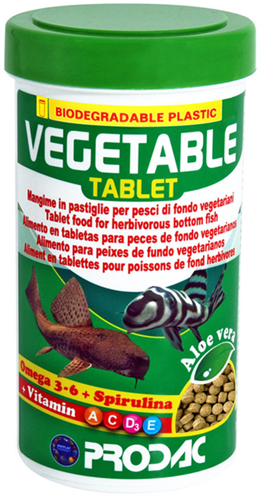 Корм сухой Prodac Vegetable Tablet, для аквариумных пресноводных рыб, в таблетках, 160 г корм сухой prodac tubifex для аквариумных пресноводных рыб 10 г