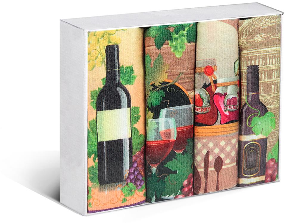 """Набор Soavita """"Вино"""" состоит из четырех кухонных полотенец, выполненных из высококачественной микрофибры с оригинальным узором. Микрофибра - материал высочайшего качества, изготовленный из сложных микроволокон, по ощущениям напоминает велюр и передающий уникальное и невероятное чувство мягкости. Ткань из микрофибры дышащая, устойчива к загрязнениям и пятнам, сохраняет свой высококачественный внешний вид и уникальную мягкость в течение всего срока службы.  Что бы изделие прослужило долго, нужно соблюдать правила ухода, см. значки ухода за изделием."""