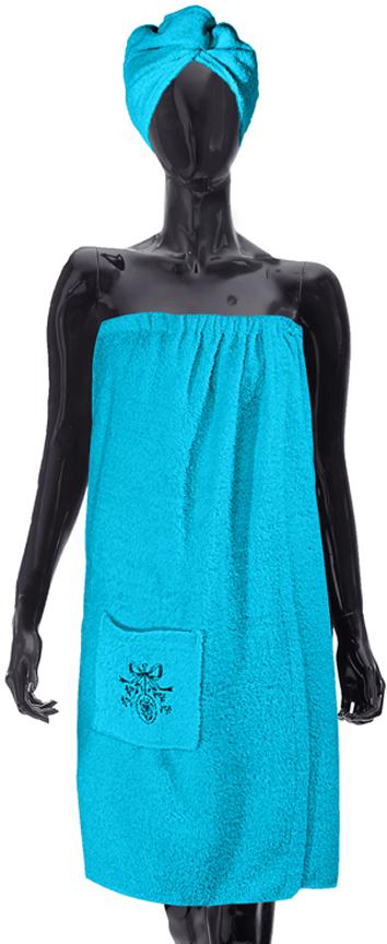 Комплект для бани Soavita: парео + чалма, цвет: бирюзовый бани