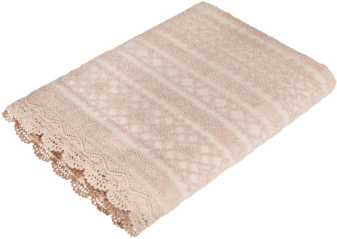 "Полотенце Soavita ""Кружево"", цвет: песочный, 68 х 135 см"
