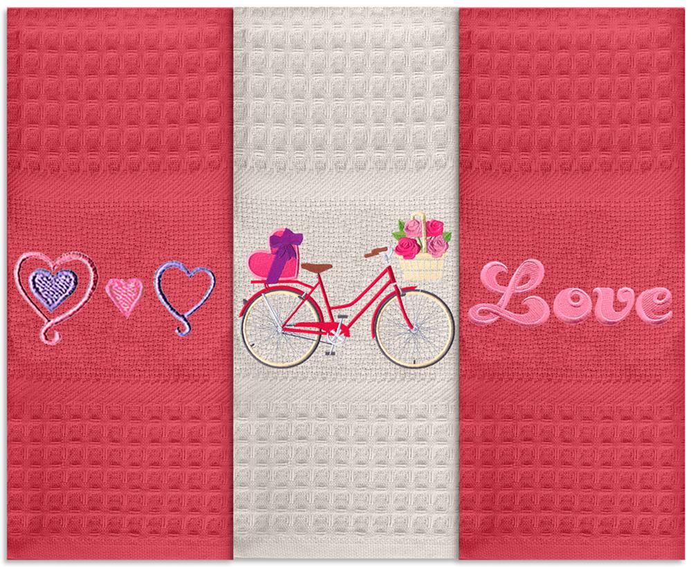 Набор кухонных полотенец Soavita Love, цвет: красный, 40 х 60 см, 3 шт набор кухонных полотенец soavita любовь цвет бежевый 40 х 60 см 3 шт