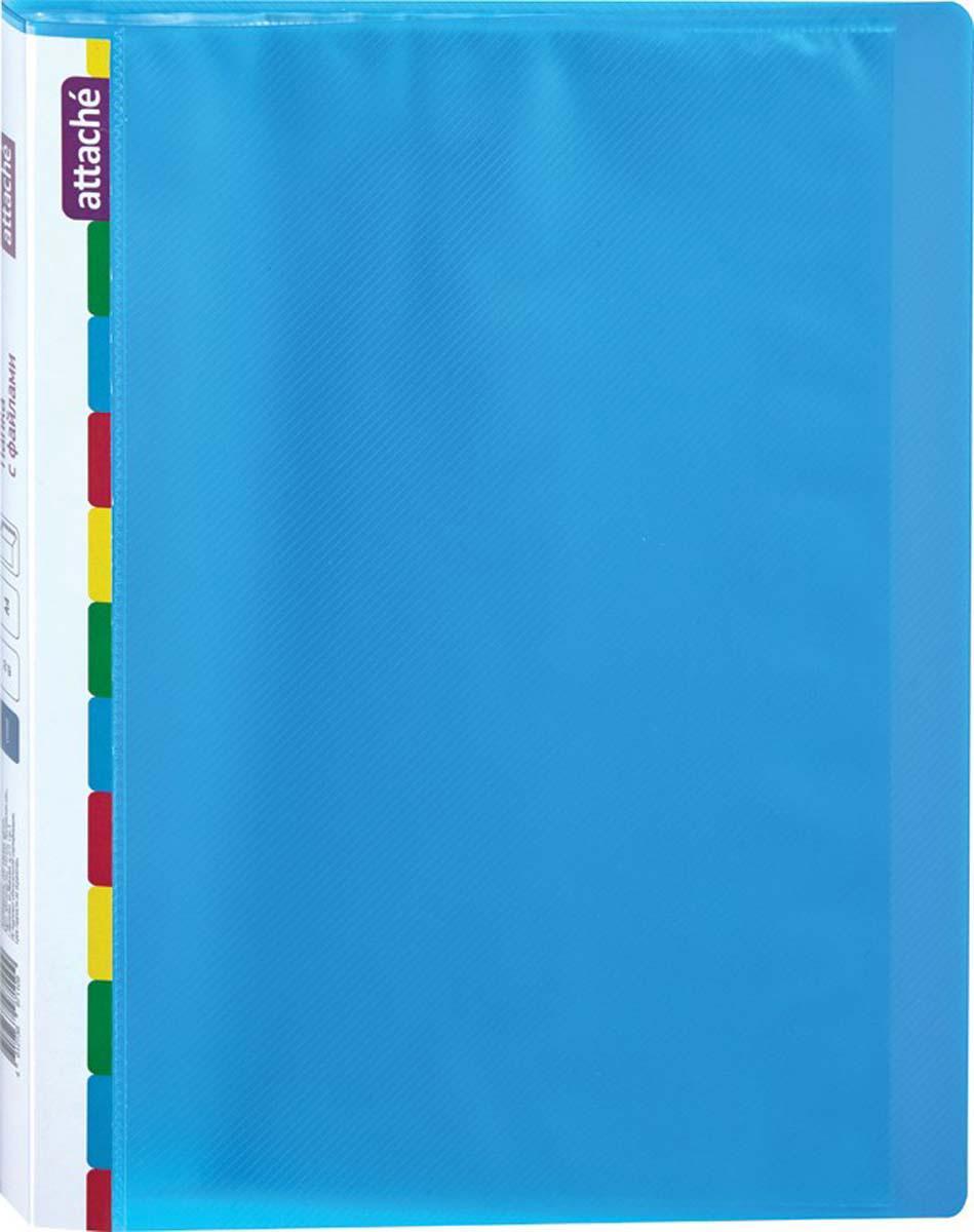 Attache Папка Diagonal А4 с 20 вкладышами цвет синий папка comix франция а4 0 3 мм на 20 карманов