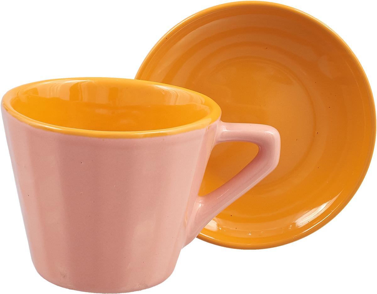 """Чайная пара Борисовская керамика """"Ностальгия"""", цвет: розовый, желтый, 200 мл"""