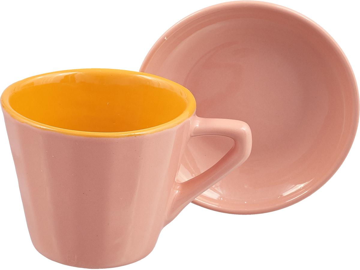 Чайная пара Борисовская керамика Ностальгия, цвет: розовый, 200 мл кокотница борисовская керамика ностальгия цвет красный 200 мл рад14457899