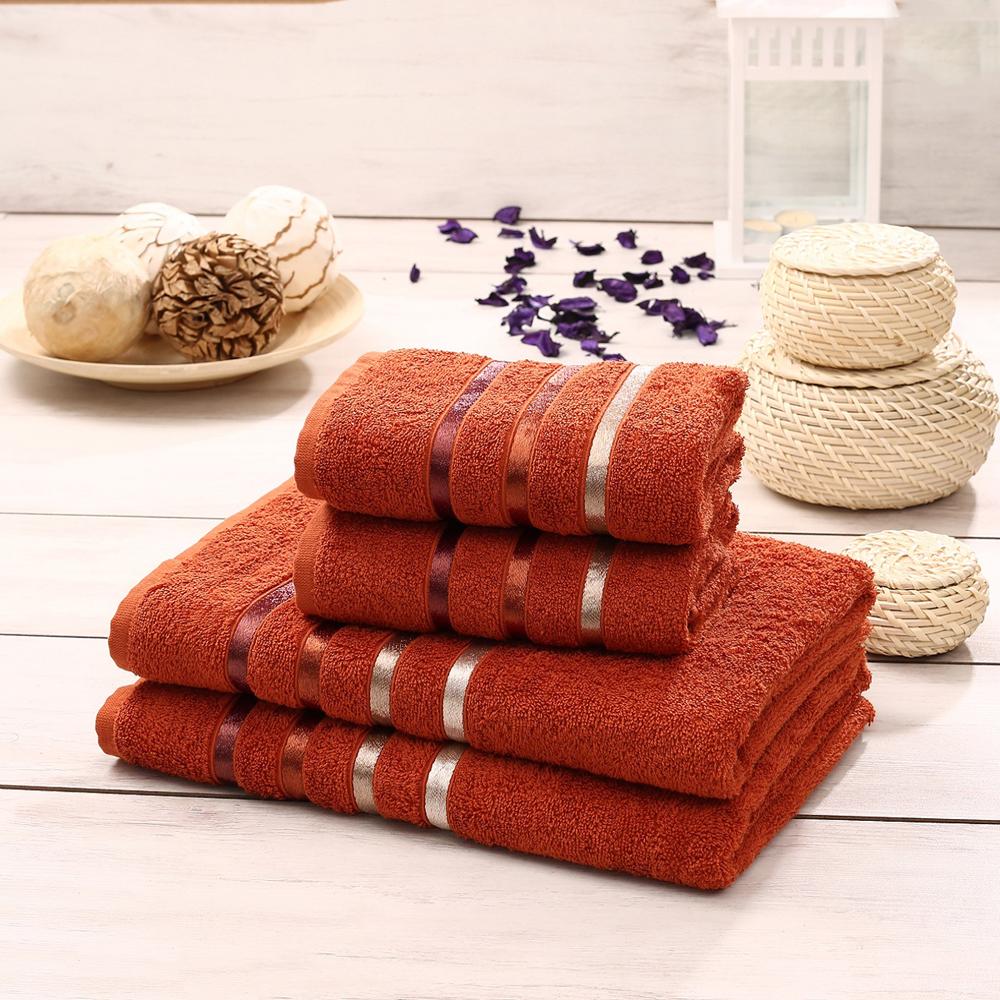 Набор махровых полотенец Karna Bale, цвет: кирпичный, 50 х 80 см, 70 х 140 см, 4 шт