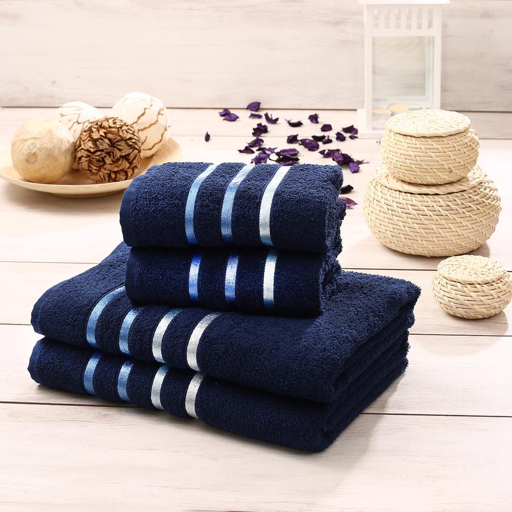 """Набор полотенец Karna """"Bale"""" изготовлен из высококачественных хлопковых  нитей.  Хлопковые нити прядутся из длинных волокон. Длина волокон хлопковой нити  влияет на свойства ткани, чем длиннее волокна, тем махровое изделие прочнее,  пушистее и мягче на ощупь.  Также махровое изделие отлично впитывает воду и быстро сохнет. На  впитывающие качества махры (ее гигроскопичность) влияет состав волокон.  Махра абсолютно не аллергенна, имеет высокую воздухопроницаемость и долгий  срок использования ткани. Отличительной особенностью данной модели является её оригинальный дизайн и  подарочная упаковка. Размер маленького полотенца: 50 х 90 см.  Размер большого полотенца: 70 х 140 см."""