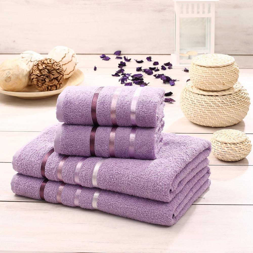Набор махровых полотенец Karna Bale, цвет: лиловый, 50 х 80 см, 70 х 140 см, 4 шт