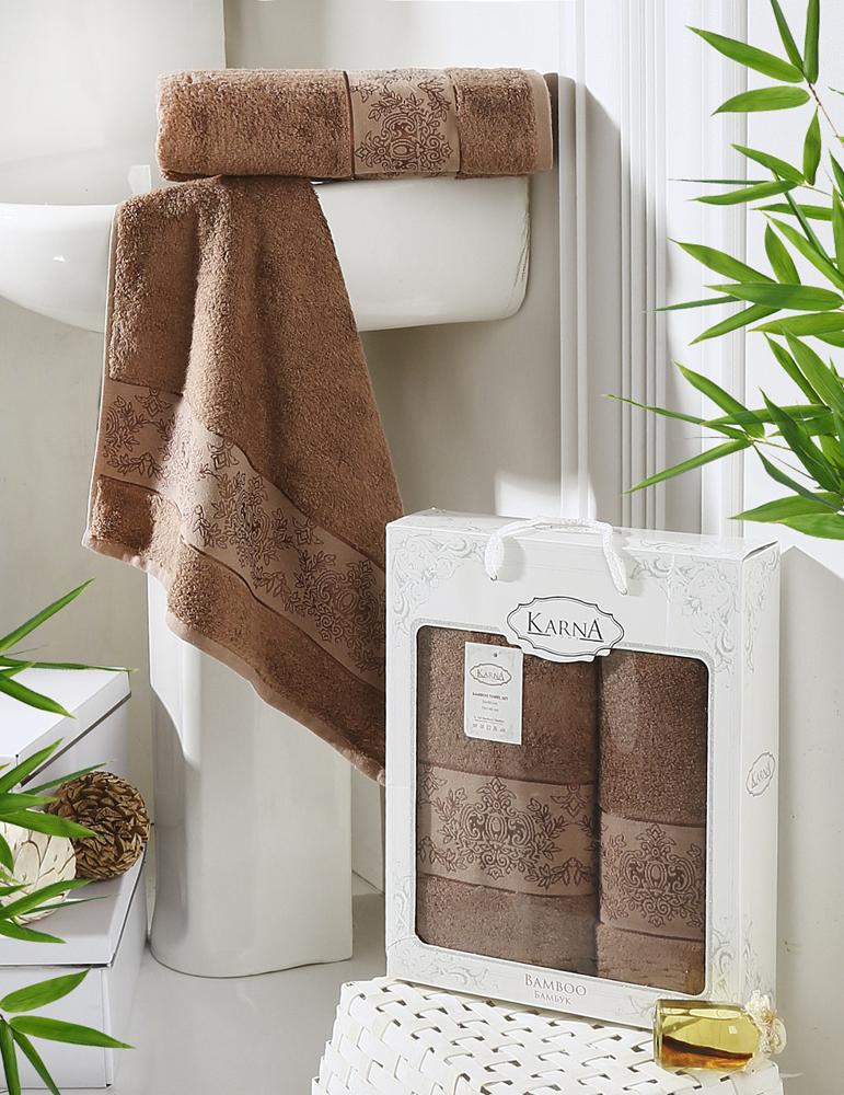 """Набор Karna """"Pandora"""" состоит из 2 махровых полотенец,  выполненных из качественного бамбука. Изделия отлично  впитывают влагу, быстро сохнут, сохраняют яркость цвета и не  теряют формы даже после многократных стирок.  Размер маленького полотенца: 50 х 90 см. Размер большого полотенца: 70 х 140 см. Комплектация: 2 шт."""