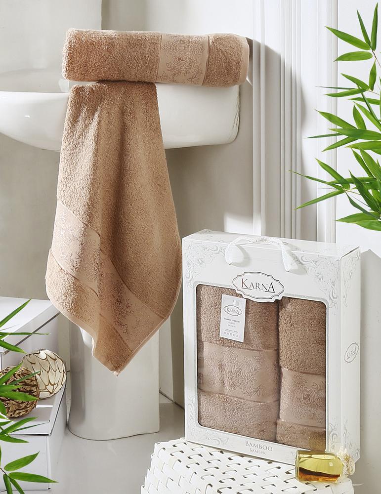 Набор полотенец Karna Pandora, цвет: капучино, 50 х 90 см, 70 х 140 см, 2 шт полотенца karna полотенце pandora цвет золотистый набор