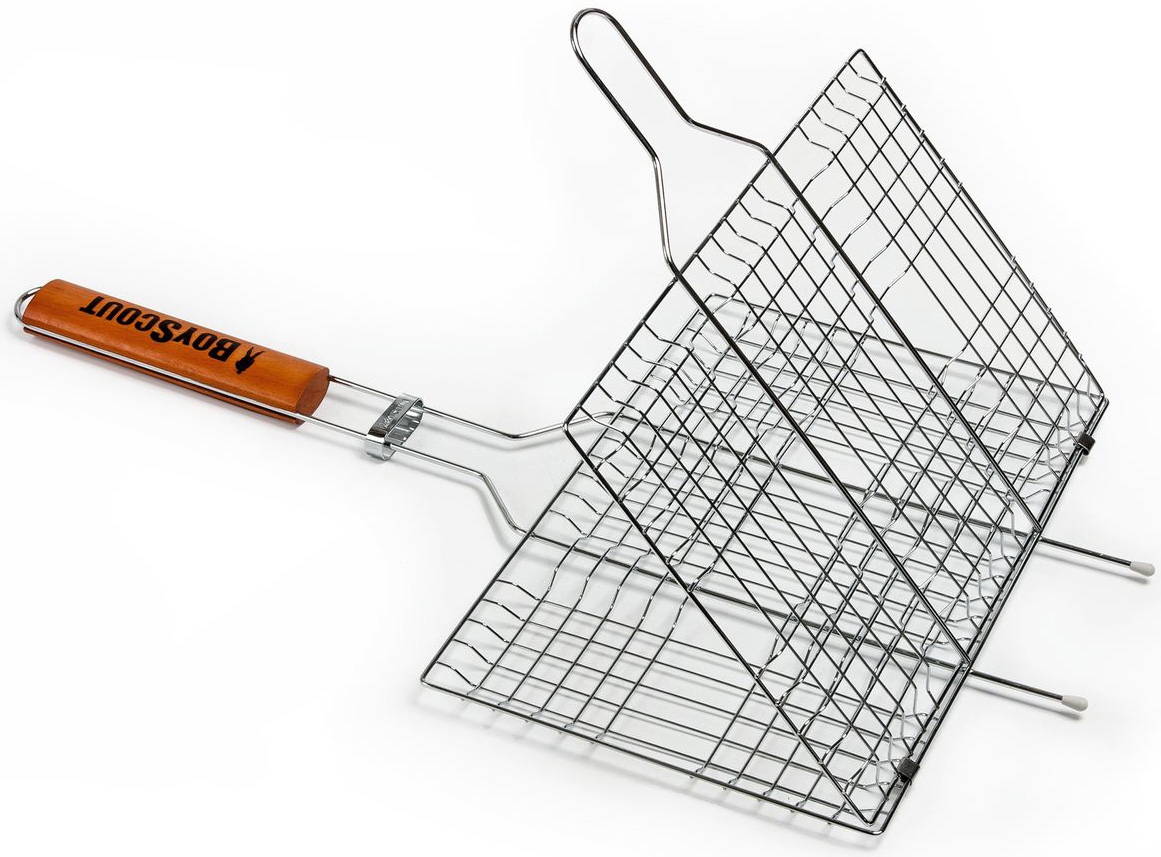 """Решетка-гриль """"Boyscout"""" предназначена для приготовления пищи на открытом воздухе. Изготовлена из высококачественной стали с пищевым хромированным покрытием. Решетка имеет деревянную вставку на ручке, предохраняющую руки от ожогов и позволяющую без труда перевернуть решетку. Надежное кольцо-фиксатор гарантирует, что решетка не откроется, и продукты не выпадут.  Приготовление вкусных блюд из рыбы, мяса или птицы на пикнике становится еще более быстрым и удобным с использованием решетки-гриль. К решетке прилагается подарок - веер для розжига, выполненный из плотного картона.  Размер рабочей поверхности: 33 см х 22 см х 2,5 см. Длина ручки: 32 см. Размер веера: 21 см х 15 см х 0,5 см."""