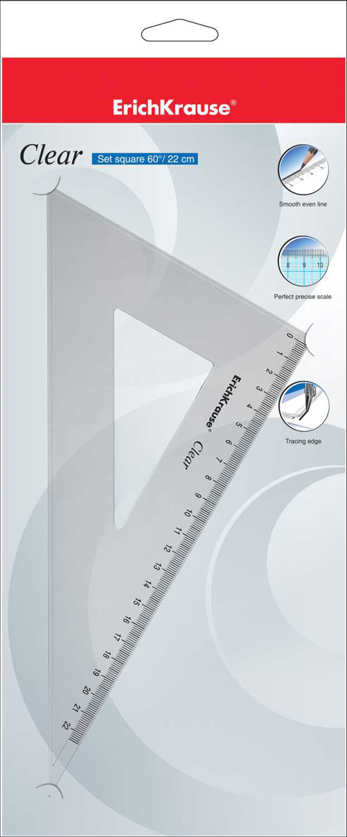 Erich Krause Угольник Clear с углом 60 градусов 22,5 см erich krause угольник clear с углом 45 градусов 16 см