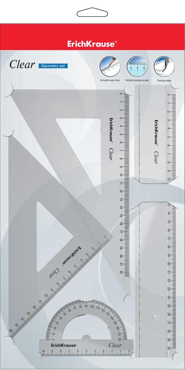 Erich Krause Набор геометрический Clear 4 предмета erich krause угольник clear с углом 60 градусов 22 5 см