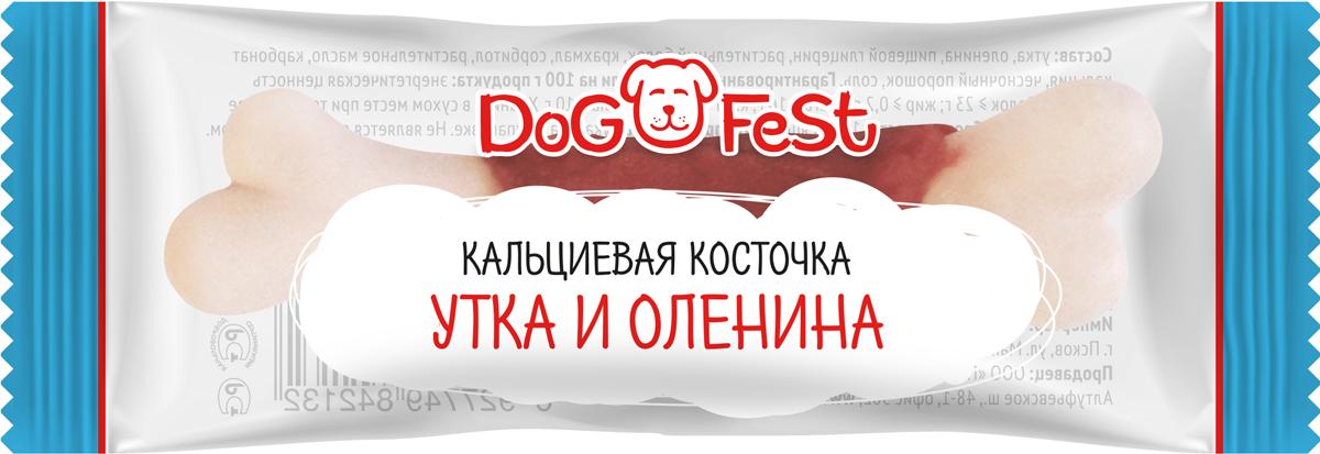 """Лакомство для собак Dog Fest """"Кальциевая косточка с уткой и олениной"""", 20 шт по 7,6 г"""