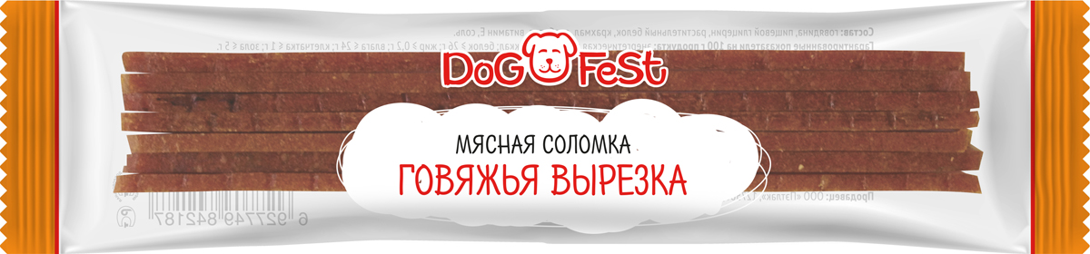 Лакомство для собак Dog Fest Мясная соломка с говяжьей вырезкой, 20 шт 6 г лакомство для собак dog fest легкое говяжье 70 г