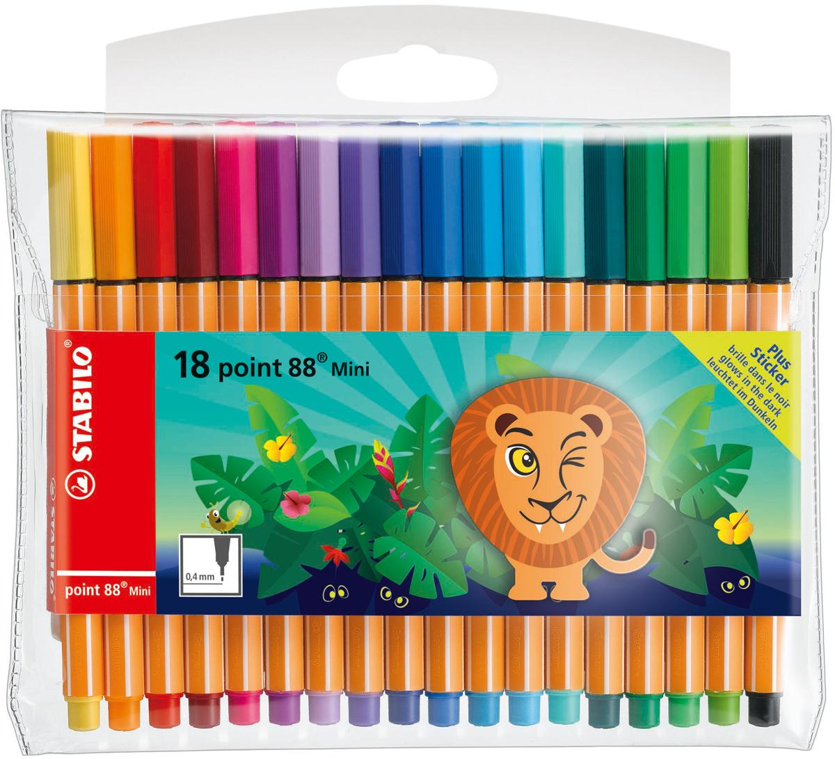 STABILO Набор капиллярных ручек Point 88 Mini Funnimals 18 цветов -  Ручки