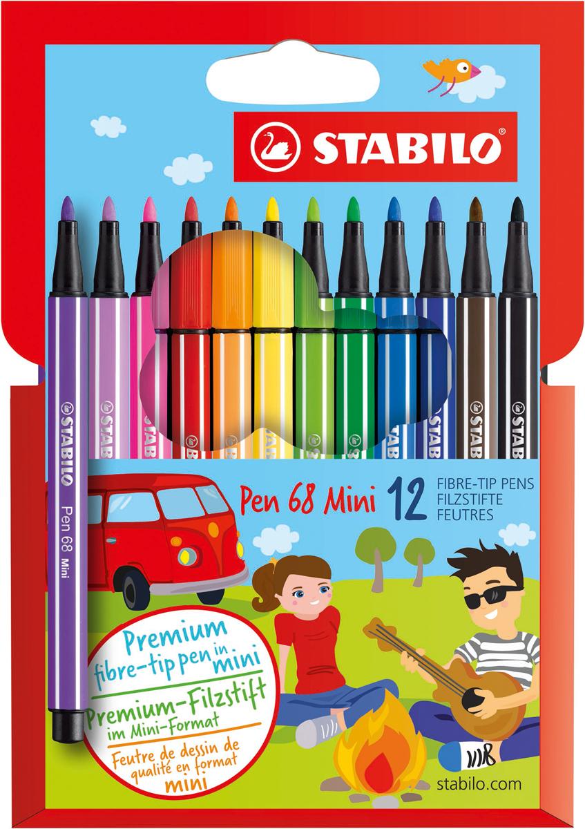 STABILO Набор фломастеров Pen 68 Mini 12 цветов 668/12 stabilo набор фломастеров pen 68 green editional 10 цветов