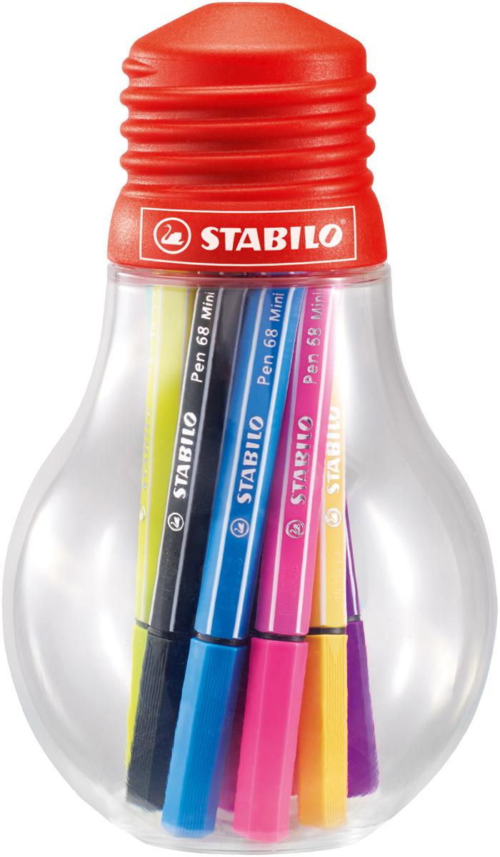 STABILO Набор фломастеров Pen 68 Mini 12 цветов 668/12-061 stabilo набор фломастеров pen 68 green editional 10 цветов