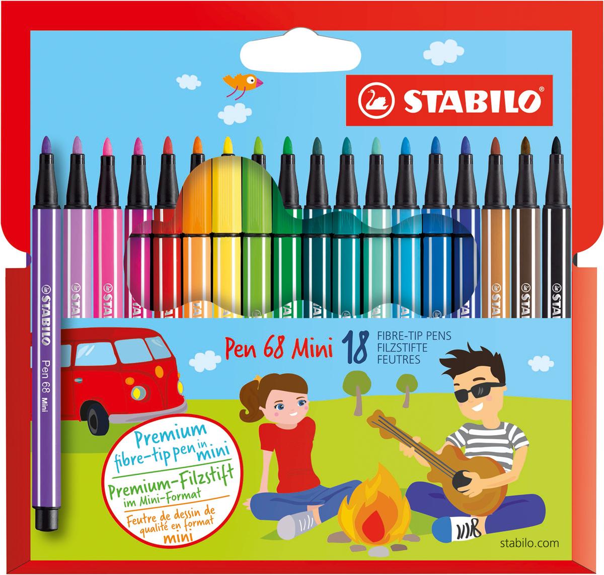 STABILO Набор фломастеров Pen 68 Mini 18 цветов stabilo набор фломастеров pen 68 green editional 10 цветов