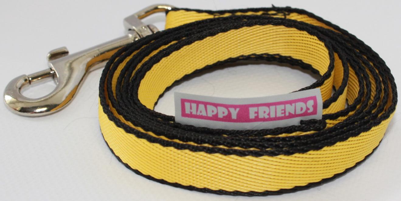 Фото - Поводок для собак Happy Friends, цвет: желтый, ширина 1,4 см, длина 1,20 м боди детский luvable friends 60325 f бирюзовый р 55 61