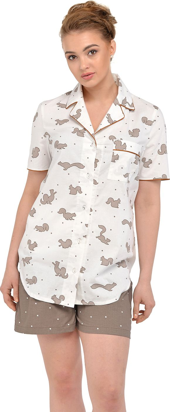 Пижама для беременных и кормящих Мамин Дом Candy Nut, цвет: коричневый, белый. 24139. Размер 46
