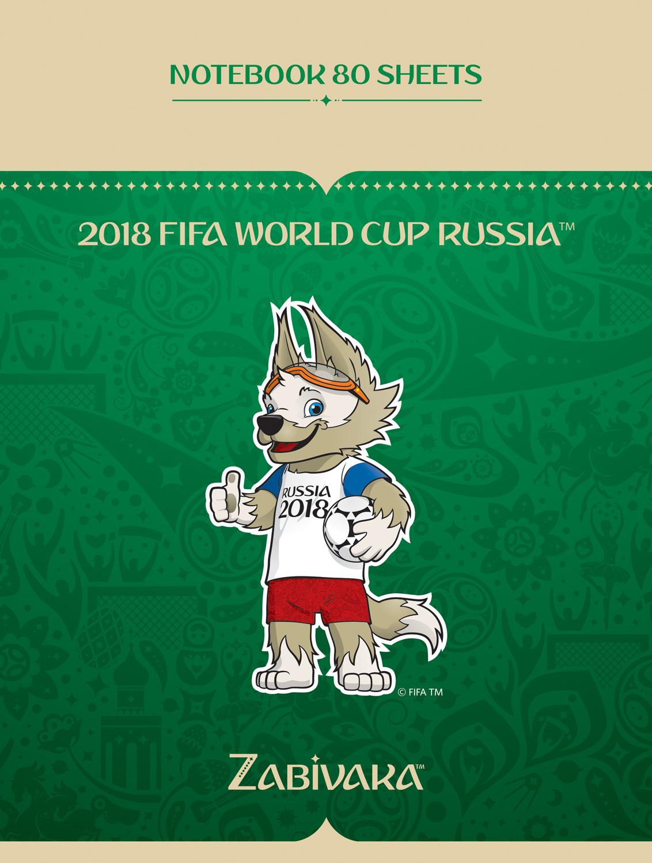 FIFA-2018 Блокнот ЧМ по футболу 2018 Талисман цвет зеленый 80 листов бизнес блокнот modo arte fetiche а5 4016е