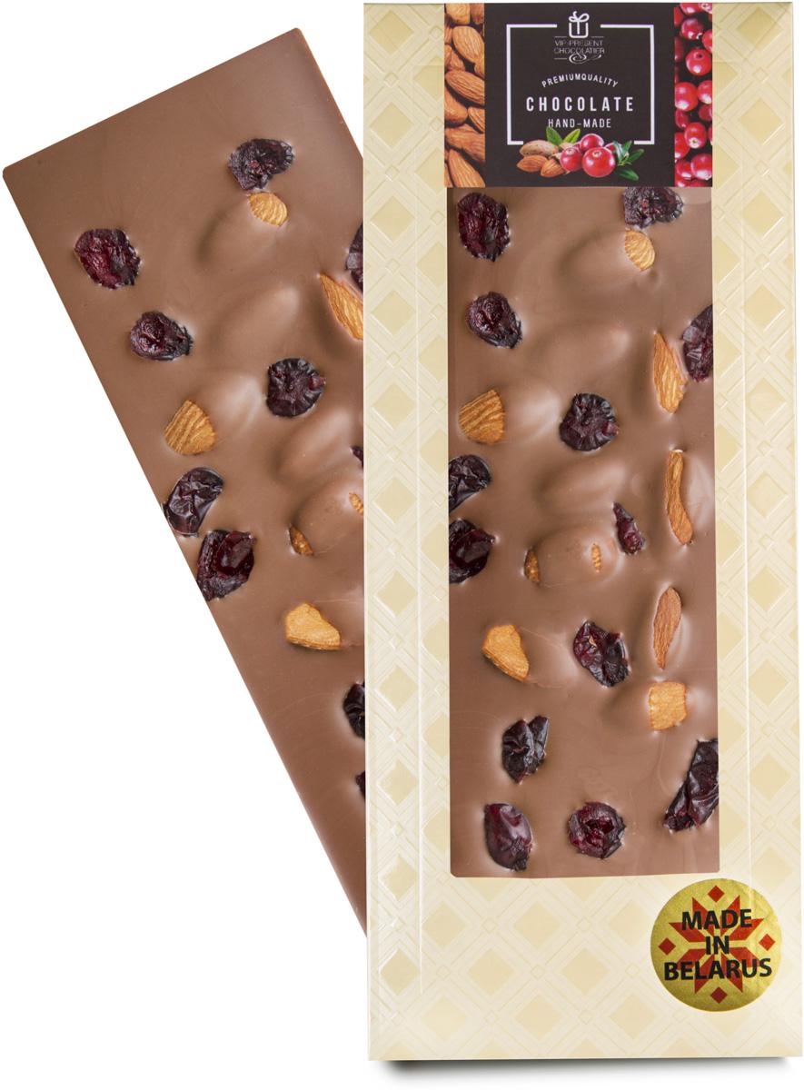 VIP-Present Chocolatier Какао с клюквой и миндалем шоколад молочный 35%, 100 г сибирские отруби хрустящие сила ягод 100 г
